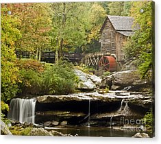 Autumn Waterfall Glade Creek Grist Mill Acrylic Print