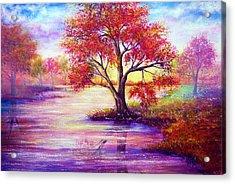 Autumn Waters Acrylic Print by Ann Marie Bone