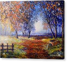 Acrylic Print featuring the painting Autumn Wheelbarrow by Lou Ann Bagnall
