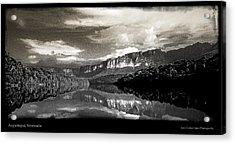 Auyantepuy Reflejado En El Rio Carrao Acrylic Print by Juan Carlos Lopez