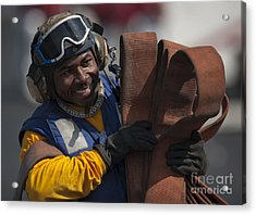 Aviation Boatswains Mate  Carrying Acrylic Print by Stocktrek Images