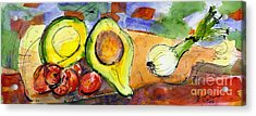 Acrylic Print featuring the painting Avocado And Onions Vegetable Still Life by Ginette Callaway