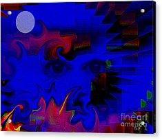 Aztec Woman Of The Moon Acrylic Print by Rene Avalos