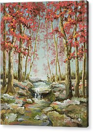 Acrylic Print featuring the painting Babbling Brook by Vic  Mastis