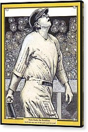 Babe Ruth Hits One Out Of The Park  Acrylic Print