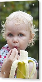 Baby And Banana Acrylic Print by Holst Photography