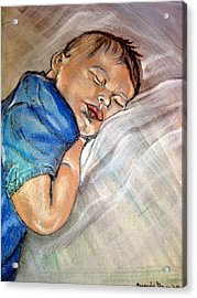 Acrylic Print featuring the pastel baby Baptism by Amanda Dinan