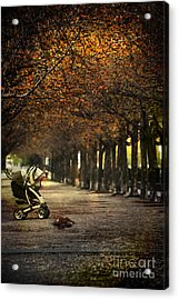 Baby Carriage With Toy Bear Alone On Street Acrylic Print by Sandra Cunningham
