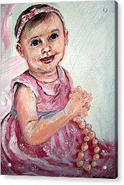 Acrylic Print featuring the painting Baby Girl 2 by Amanda Dinan
