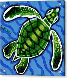 Baby Green Sea Turtle Acrylic Print by Genevieve Esson