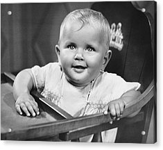 Baby In Highchair Acrylic Print by George Marks