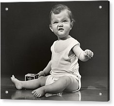 Baby Making Funny Face Acrylic Print by George Marks