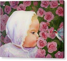 Baby Meets Hummingbird Acrylic Print by Joni McPherson