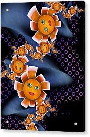 Baby Orange Flowers Acrylic Print by Josette Dery