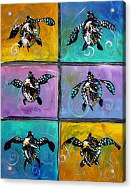 Baby Sea Turtles Six Acrylic Print by J Vincent Scarpace