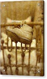 Baby Shoes On Old Pram Acrylic Print by Jill Battaglia