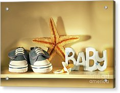 Baby Shoes On The Shelf Acrylic Print by Sandra Cunningham
