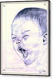 Baby-yawning Acrylic Print by Poornima M