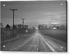 Back Country Road Sunrise Bw Acrylic Print