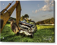 Backhoe Pulling Car Out Of Field Acrylic Print by Dan Friend