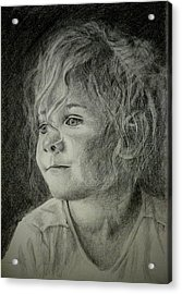 Acrylic Print featuring the drawing Bad Hair Day Mom by Lynn Hughes
