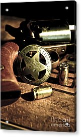 Badge And Gun Acrylic Print