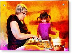 Baking Cookies With Grandma Acrylic Print by Nikki Marie Smith