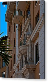 Acrylic Print featuring the photograph Balcony At The Biltmore Hotel by Ed Gleichman