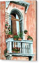 Balcony In Venice Acrylic Print by Karen Casciani