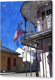 Balcony With American Flag Acrylic Print by John Boles