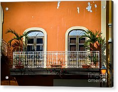 Balcony With Palms Acrylic Print by Perry Webster
