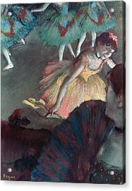 Ballerina And Lady With A Fan Acrylic Print by Edgar Degas