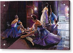 Ballet Behind The Scenes Acrylic Print by Yuriy  Shevchuk