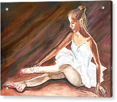 Acrylic Print featuring the painting Ballet Dancer by Clara Sue Beym