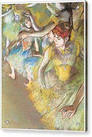 Ballet Dancers On The Stage Acrylic Print by Edgar Degas