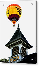 Acrylic Print featuring the photograph Balloon By The Steeple by Rick Frost