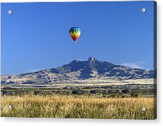 Balloon Over Heart Mountain Acrylic Print by Lora Ballweber