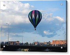 Balloon Over The Bridge Acrylic Print by Alan Holbrook