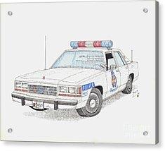 Baltimore County Police Car Acrylic Print by Calvert Koerber