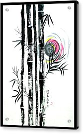 Acrylic Print featuring the painting Bamboo Sunset by Alethea McKee