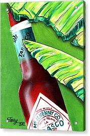 Banana Leaf Series - Tabasco Bottle Acrylic Print by Terry J Marks Sr