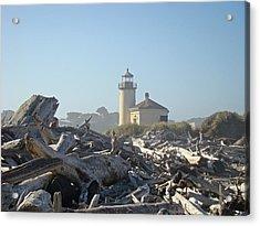 Bandon Oregon Lighthouse Art Prints Driftwood Acrylic Print by Baslee Troutman