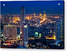 Bangkok Capital City Of Thailand Nightscape Acrylic Print by Arthit Somsakul