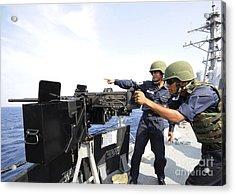 Bangladesh Navy Sailors Fire Acrylic Print by Stocktrek Images