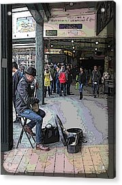 Banjo Busker At The Market Acrylic Print by Tim Allen
