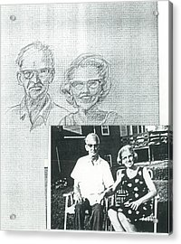 Bank Gal Parents Portrait Acrylic Print by Valerie VanOrden