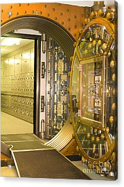 Bank Vault Doors Leading To Safety Deposit Boxes Acrylic Print by Adam Crowley