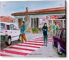 Bar Ristorante Mt. Etna Sicily Acrylic Print by Frank Hunter