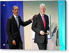 Barack Obama, Bill Clinton At A Public Acrylic Print by Everett