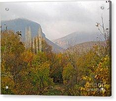Barada Valley In Fall Acrylic Print by Issam Hajjar
